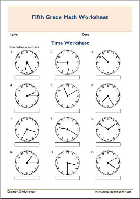 5th Grade Math Worksheets 5th Grade Math Worksheets Telling Time