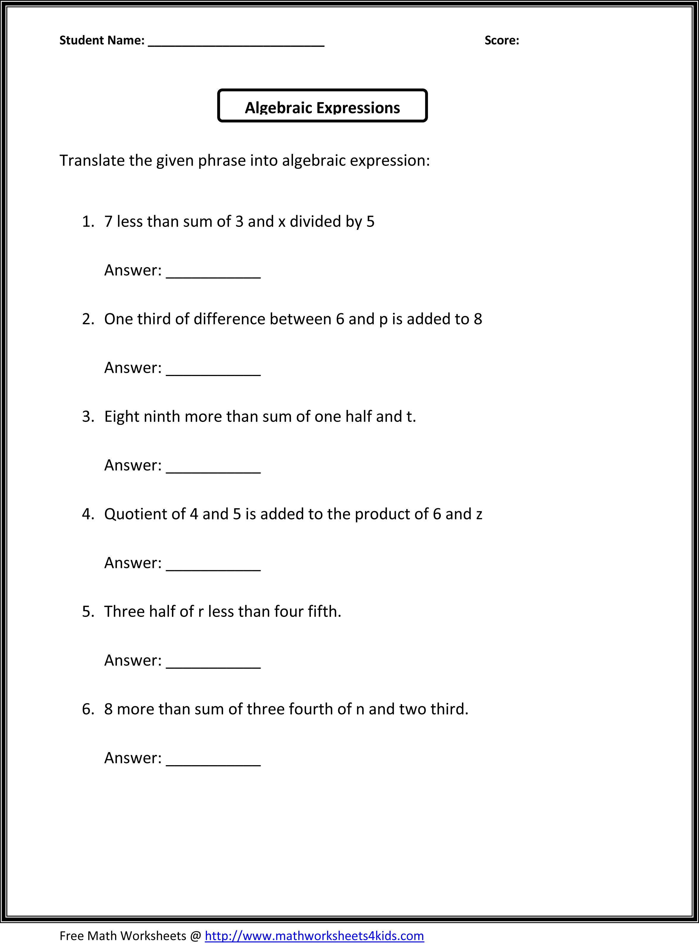 6th Grade Math Algebraic Expressions Worksheets Inspirational Pre