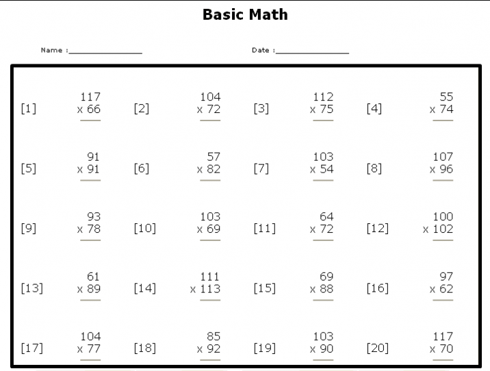 6th Grade Math Worksheets Printable 6th Grade Math Worksheets