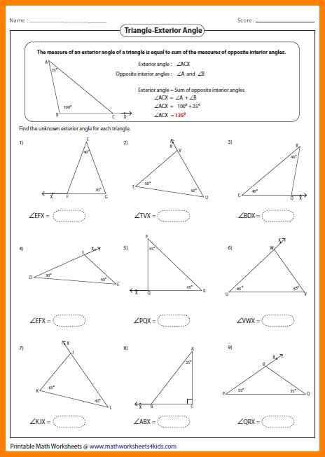 9+ Triangle Sum Theorem Worksheet