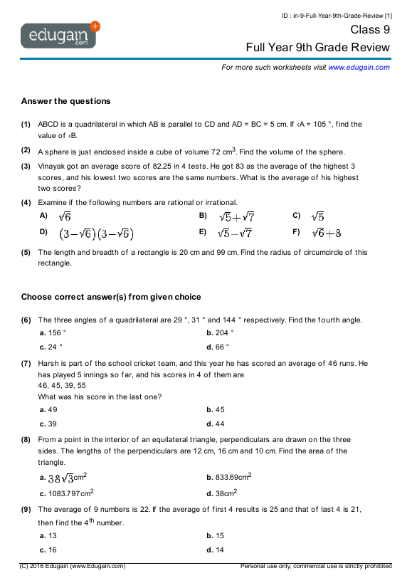 9th Grade Math Worksheets Grade 9 Math Worksheets And Problems