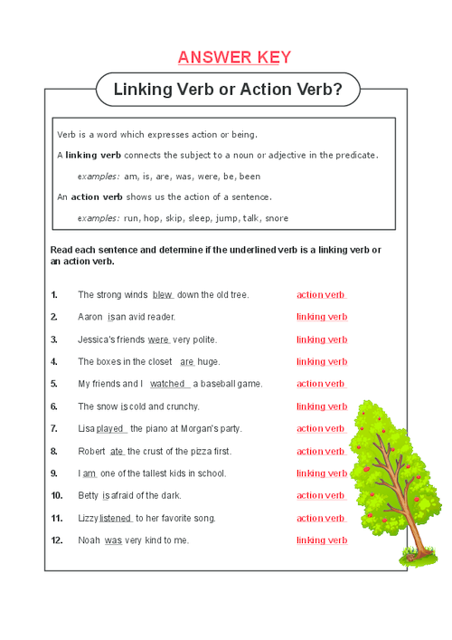 Action And Linking Verb Worksheets The Best Worksheets Image