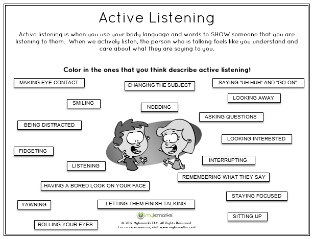 Active Listening Worksheets Active Listening Skills Worksheets