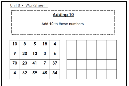 Adding 10 Worksheets Ks1