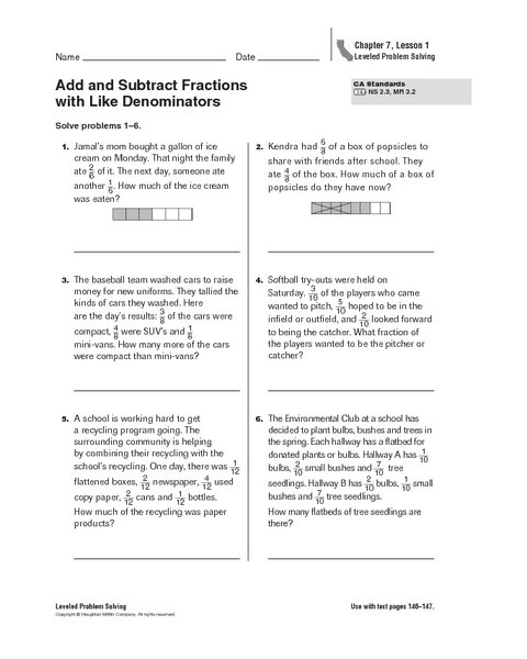 Adding And Subtracting Fractions Word Problems Worksheets Adding