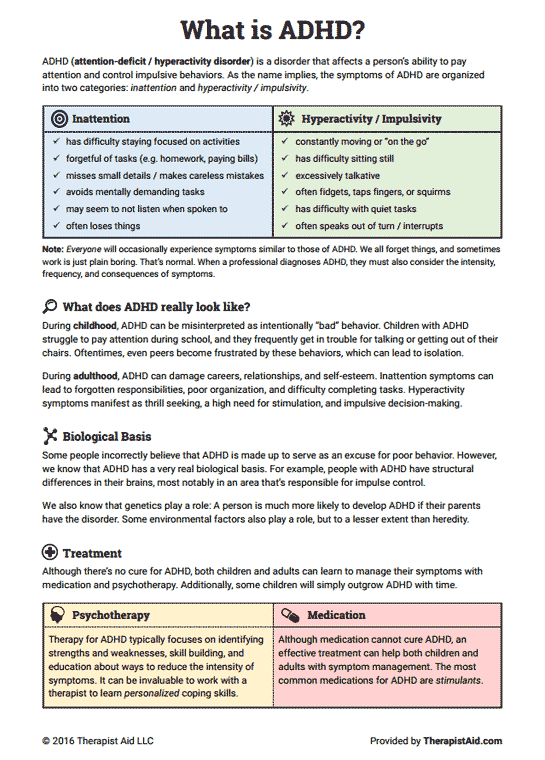 Adhd Worksheets What Is Add Adhd Worksheet Therapist Aid Free