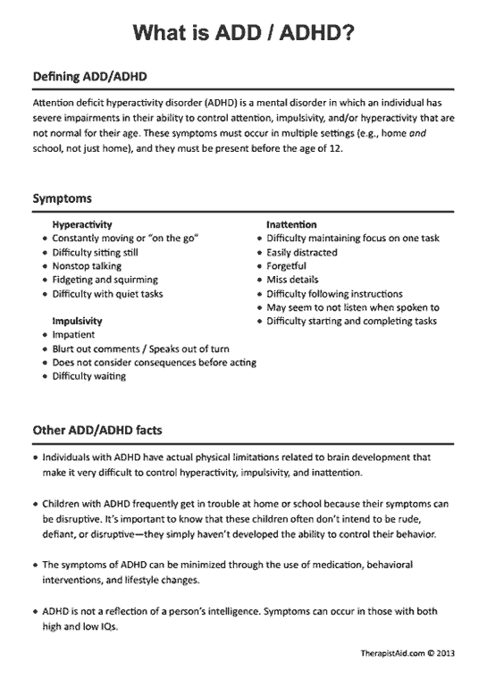 Adhd Worksheets Worksheets For Children With Adhd Worksheets For