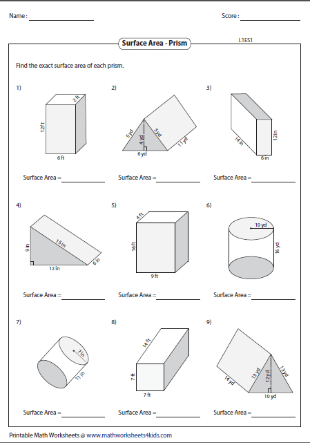 Adorable Volume Of Rectangular Prism Worksheet Kuta In Surface