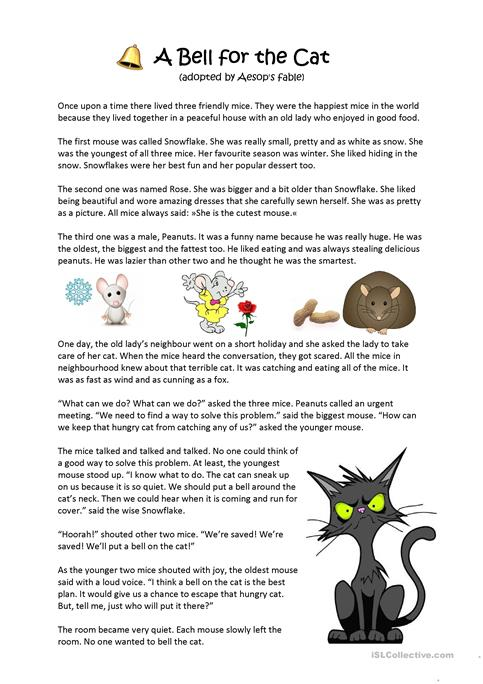 Aesop's Fable A Bell For The Cat Worksheet