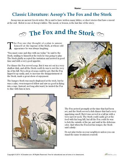 Aesop's The Fox And The Stork