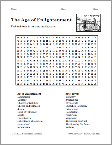 Age Of Enlightenment Word Search Puzzle