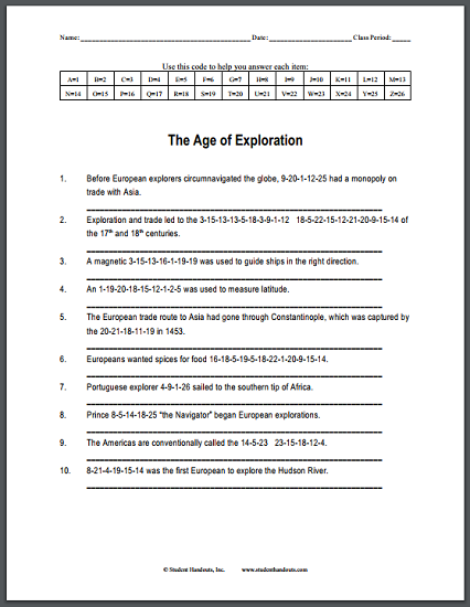 Age Of Exploration Code Puzzle Worksheet