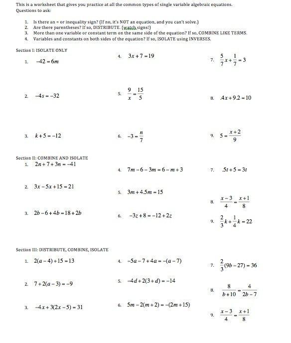 Algebra 1 Linear Equations Worksheets The Best Worksheets Image