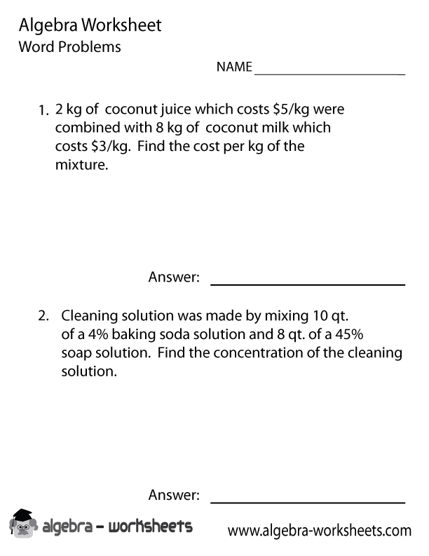Algebra 1 Word Problems Worksheets With Answers The Best