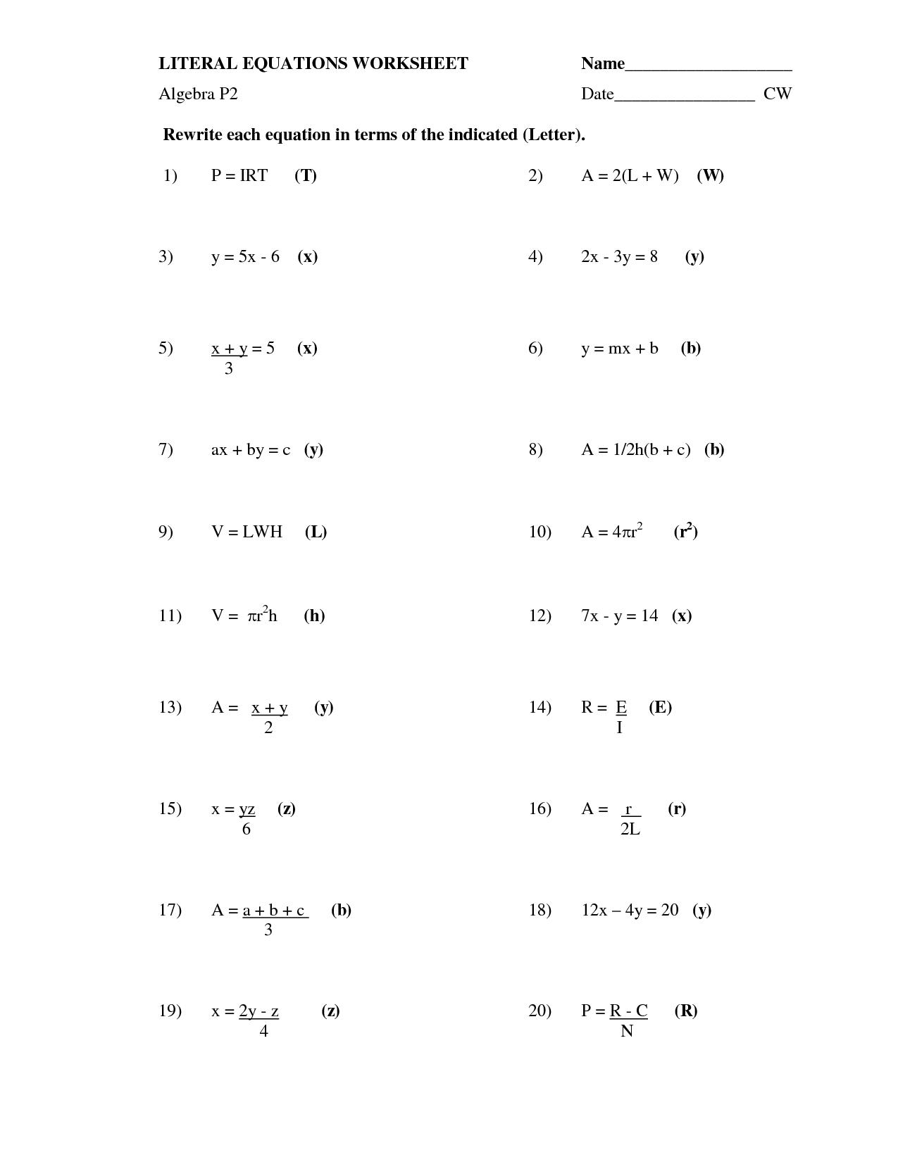 Algebra Solving Equations Worksheet The Best Worksheets Image