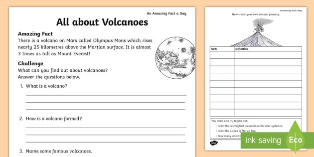 All About Volcanoes Worksheet   Activity Sheet