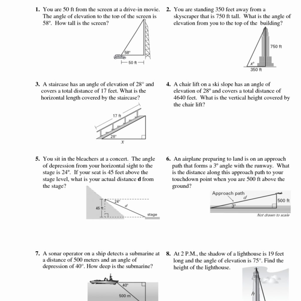 Angle Of Elevation And Depression Worksheet Answers 7177446