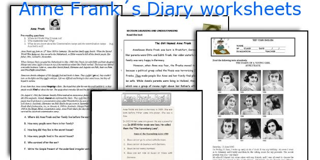 Anne Frank´s Diary Worksheets