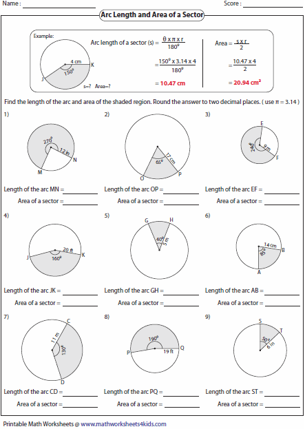 Area Of A Sector Of A Circle Worksheet The Best Worksheets Image
