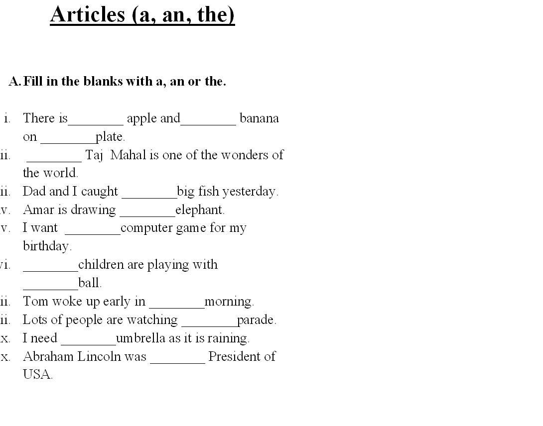 Articles Worksheet For Grade 3 1144506