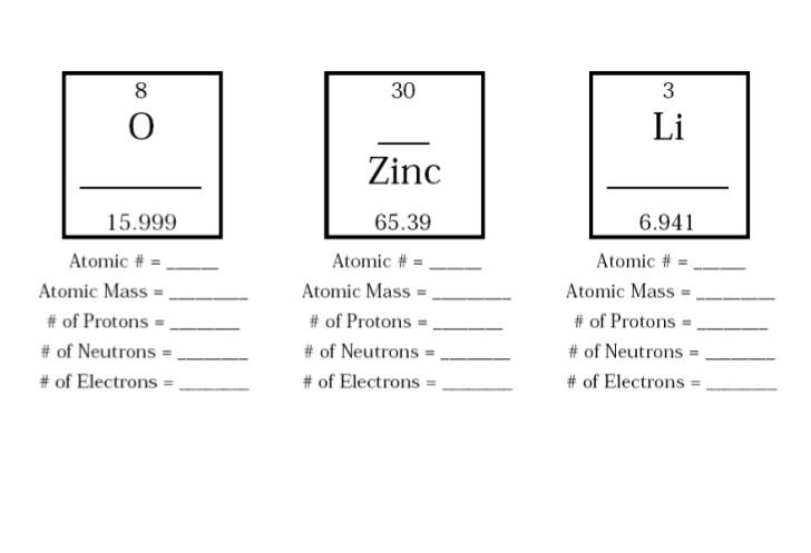 Worksheets On Atomic Number And Mass Number