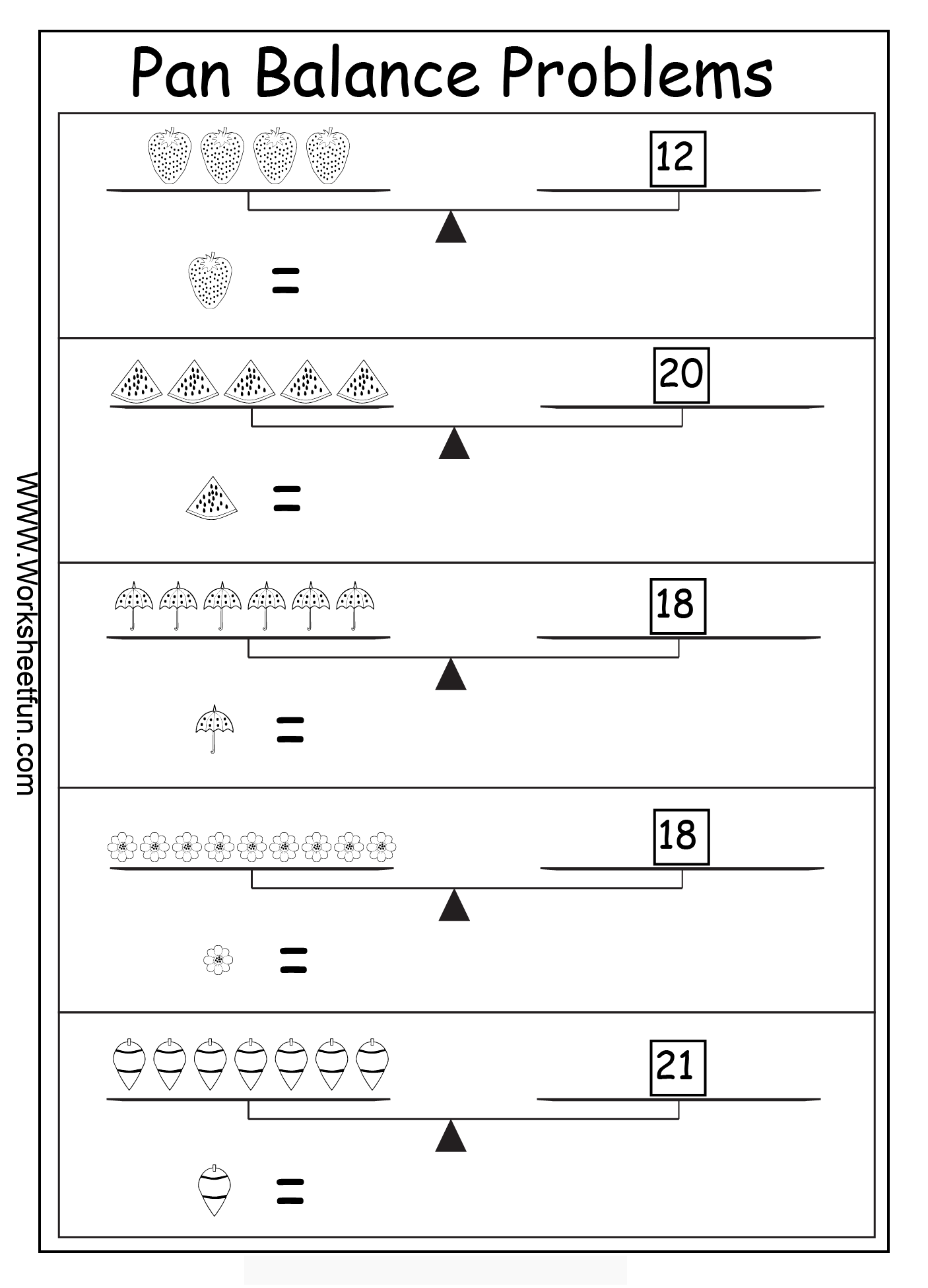 Balancing Math Equations Worksheet Elementary 51025
