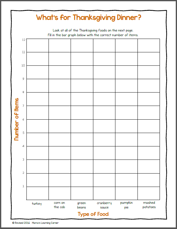 Bar Graph Worksheet  Thanksgiving!