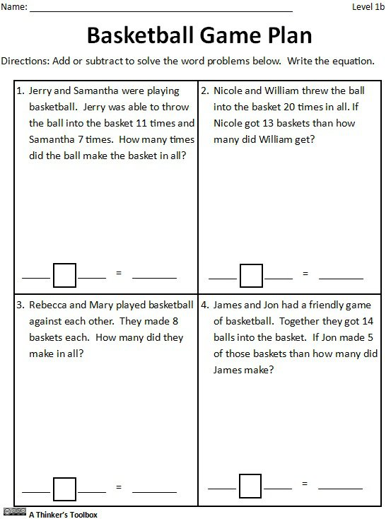 Basketball Math Madness K1 Math Worksheets