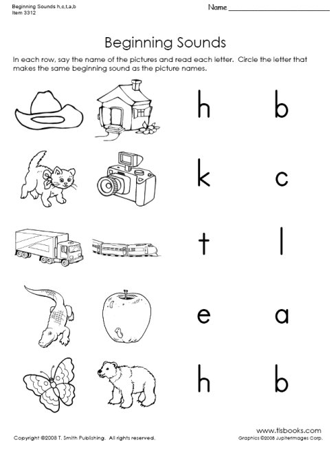 Beginning Sounds Worksheets Beginning Sounds Of H C T A And B