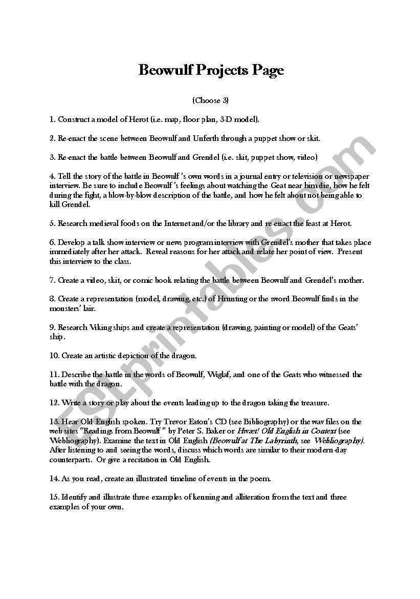 Beowulf Worksheets 461642