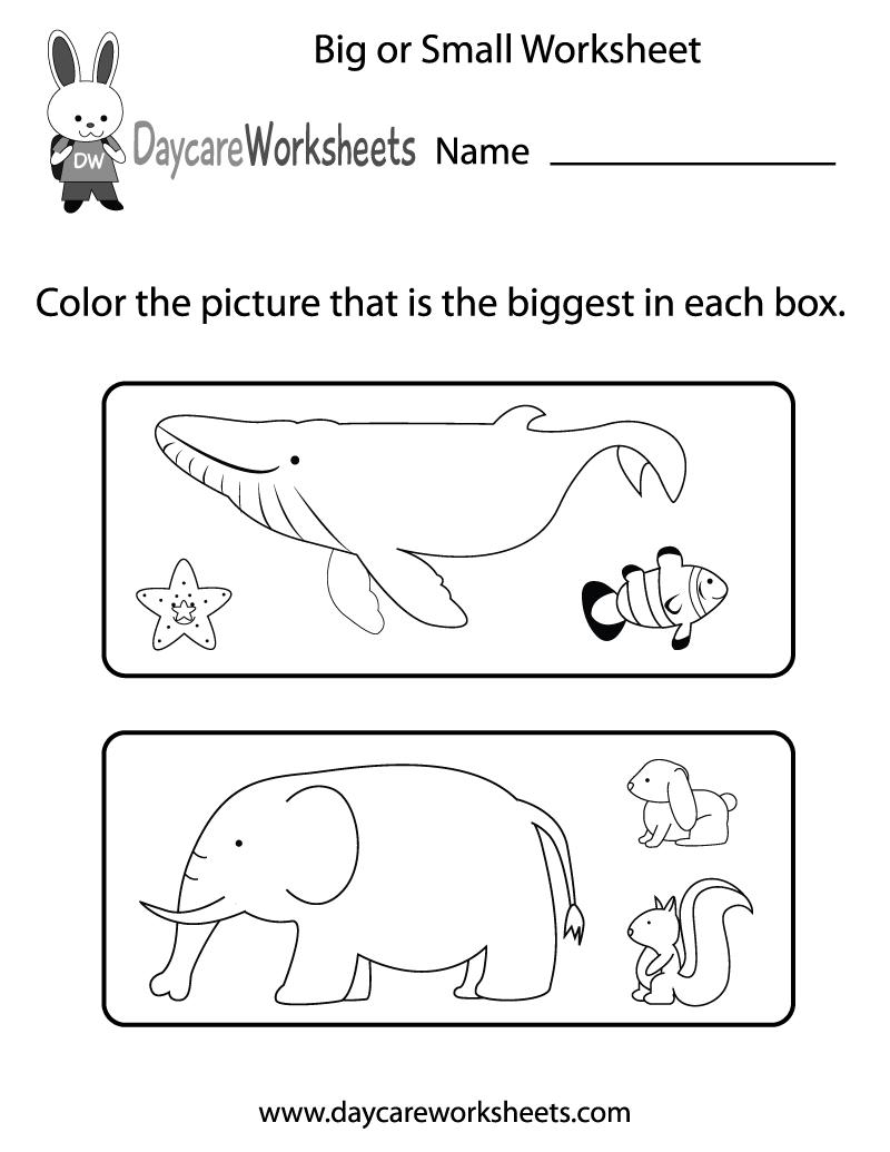 Big And Little Worksheets For Kindergarten The Best Worksheets