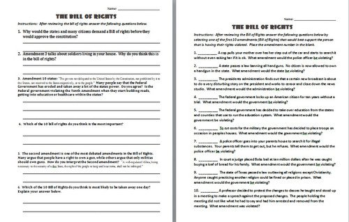 Bill Of Rights Worksheet Answer Key Bill Of Rights Worksheet