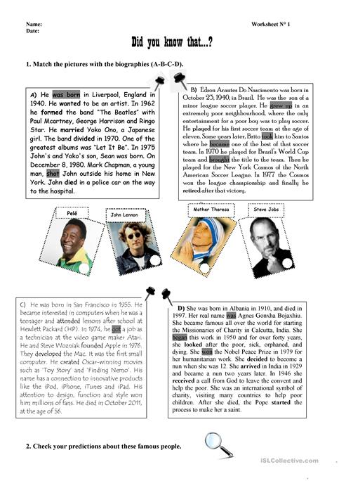 Biographies Of Famous People Worksheet