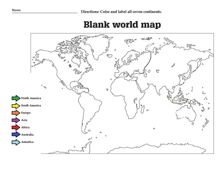 Blank Map Of Continents And Oceans Worksheet Continents And Oceans