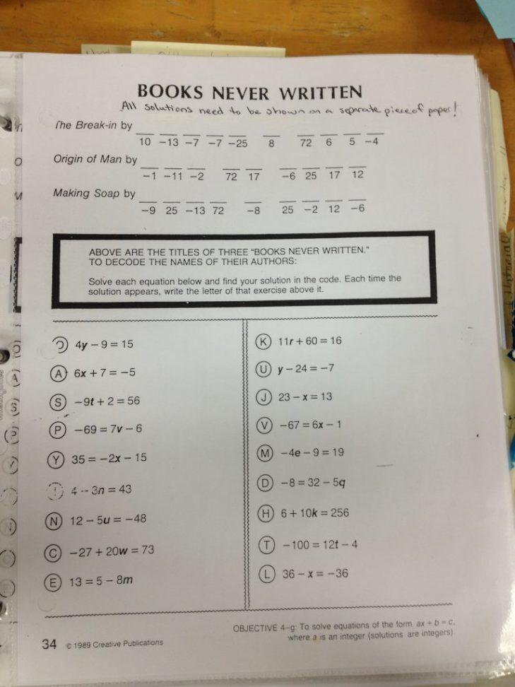 Books Never Written Math Worksheet Answers & Full Size Books Never