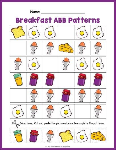 Breakfast Abb Pattern Worksheet