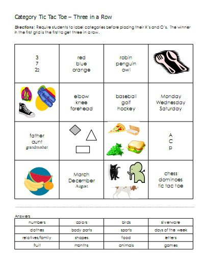 Categories – Word Lists, Activities, Worksheets, And More