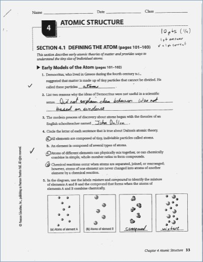 Chapter 4 Atomic Structure Worksheet Answer Key Chapter 4 Atomic
