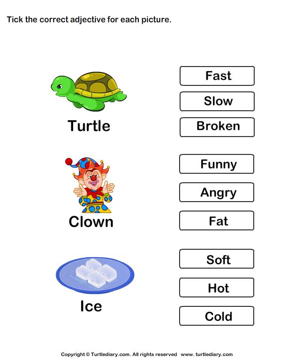 Choose The Correct Adjective Slow Fast Broken Worksheet