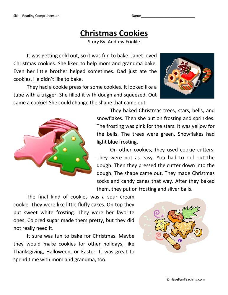 Christmas Reading Comprehension Worksheet Printable  Printable