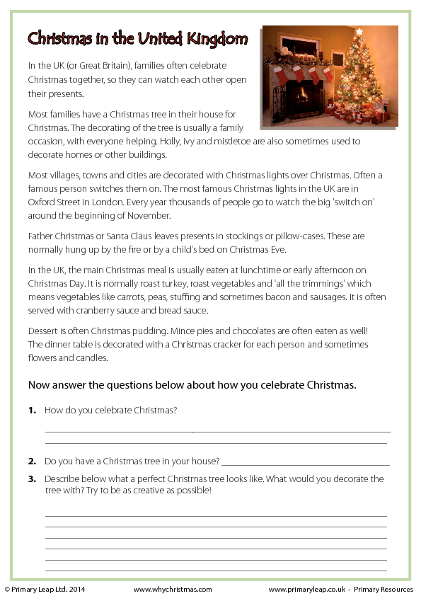 Christmas Worksheet Reading Comprehension Free 657649