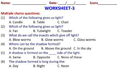 Class 2 Evs Online Worksheets Light Shadow For Students