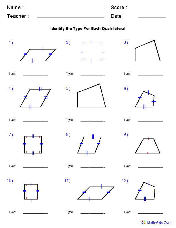 Classifying Quadrilaterals Coloring Page Geometry Worksheets