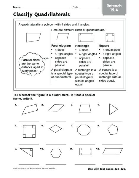 Classifying Quadrilaterals Worksheet Free Worksheets For 3rd Grade