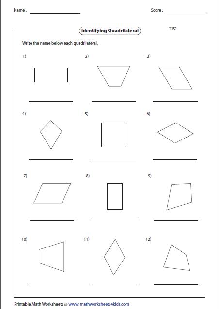 Classifying Quadrilaterals Worksheet Quadrilateral Worksheets