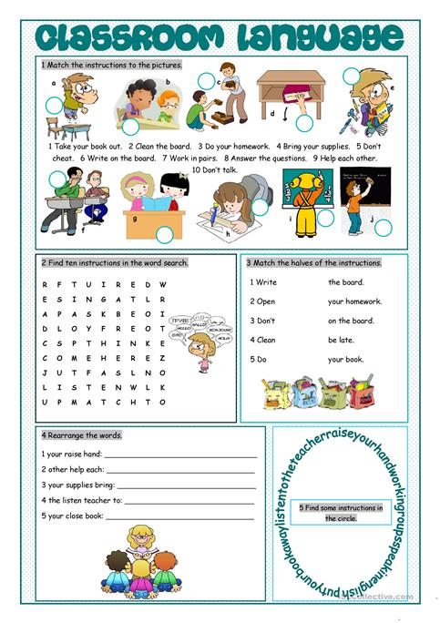 Classroom Language Vocabulary Exercises Worksheet