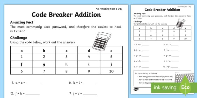 Code Breaker Addition Worksheet   Activity Sheet