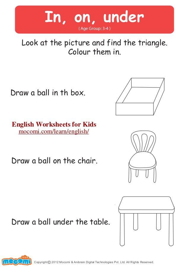Collection Of Above Below Over Under Worksheets Kindergarten