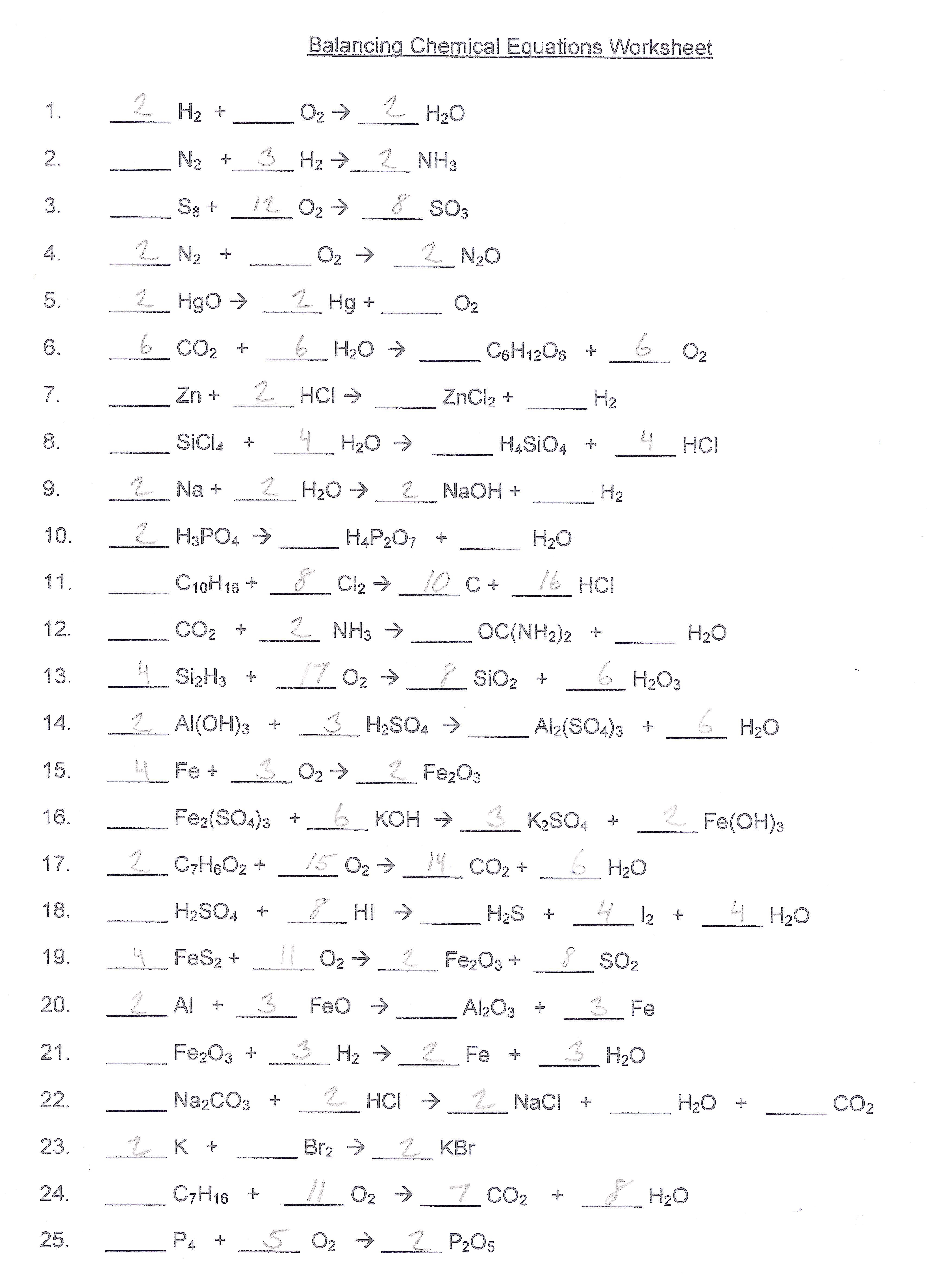 Collection Of Balancing Chemical Equations Worksheet Answers