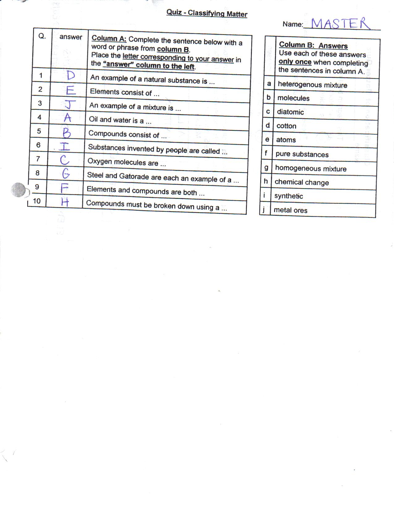 Collection Of Classification Of Matter Worksheet Pogil Answer Key